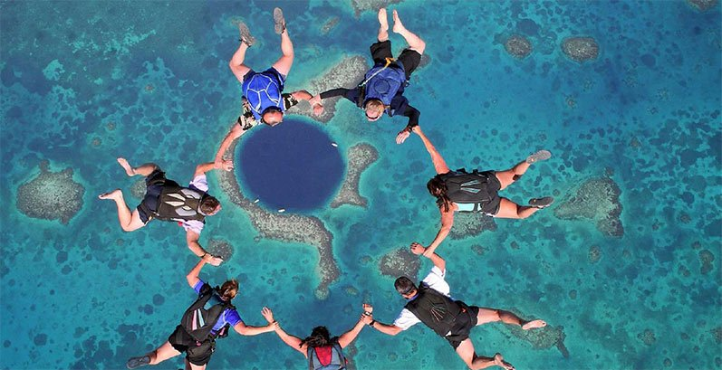 Skydiving Belize Blue Hole